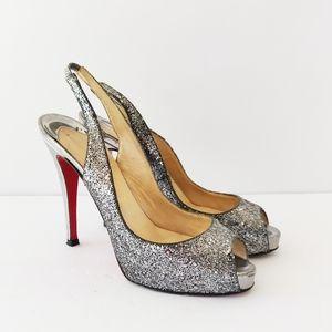 💥 Christian Louboutin silver sparkling high heels